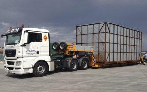 Transportes molinos eólicos en góndola - Grúas Molero